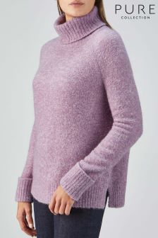 Pure Collection Purple Boucle Roll Neck Sweater