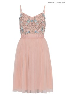 French Connection Pink Embroidered Short Dress