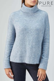 Pure Collection Blue Boucle Roll Neck Sweater
