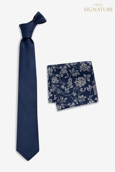 Signature Silk Tie With Floral Pocket Square