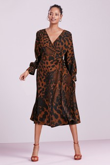 Animal Print Tie Wrap Dress