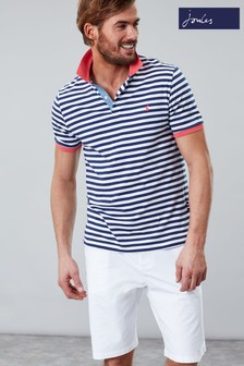 Joules Blue Clarkwell Jersey Stripe Polo