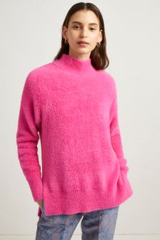 French Connection Bright Pink Edith Knits Side Split Jumper