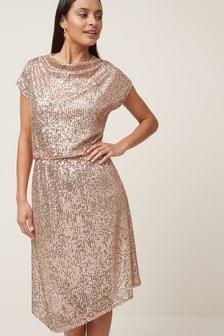 Cowl Neck Boxy Dress