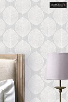 Arthouse Grey Scandi Leaf Wallpaper
