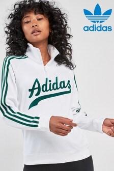 adidas Originals White Logo 1/4 Zip