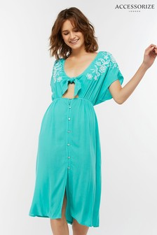Accessorize Green Button Up Knot Front Dress