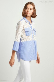 French Connection Blue Adena Mix Lace Shirt