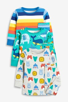 Stripe/Animal Snuggle Fit Pyjamas Three Pack (9mths-8yrs)