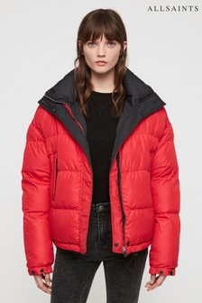 AllSaints Red/Black Reversible Quilted Jacket