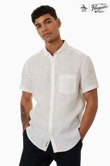 Original Penguin White Short Sleeve Washed Linen Shirt