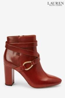 Ralph Lauren Tan Leather Addington Ankle Boots