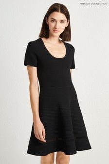French Connection Black Crepe Knit Dress