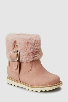 Faux Fur Buckle Boots (Younger)