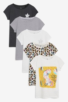 Animal Short Sleeve Tops Five Pack (3-16yrs)