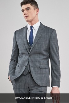 Tailored Fit Prince Of Wales Check Suit: Jacket