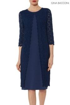 Gina Bacconi Navy Kimora Scallop Lace Crepe Dress
