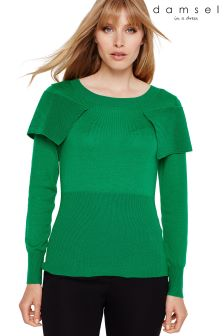 Damsel In A Dress Green Agnes Foldover Knitted Jumper