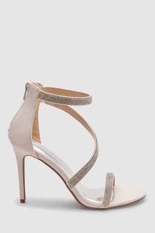 342093145843 Nude · Black · Asymmetric Jewelled Sandals
