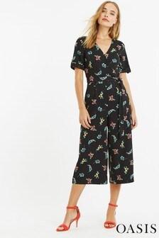 Oasis Black Flower Jumpsuit