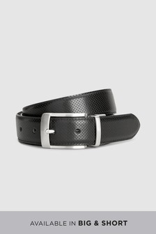 Perforated/Plain Reversible Leather Belt