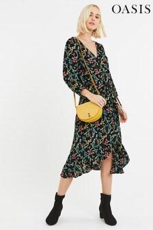 Oasis Black Flower Wrap Midi Dress