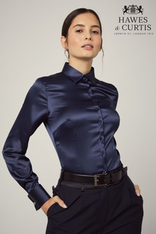 Hawes And Curtis Blue Fitted Satin Plain Double Cuff Shirt