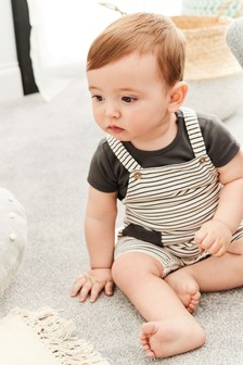 Stripe Cropped Dungarees And Bodysuit Set (0mths-2yrs)