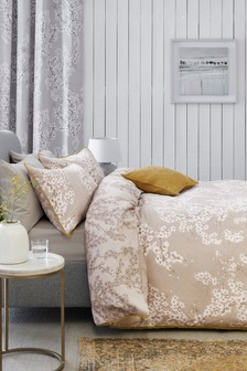 Cotton Sateen Natural Blossom Duvet Cover And Pillowcase Set