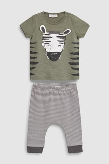 Zebra T-Shirt And Stripe Leggings Set (0mths-2yrs)