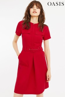 Oasis Red Utility Shirt Dress