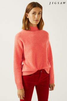 Jigsaw Orange Ribbed Turtle Neck Cashmere Jumper