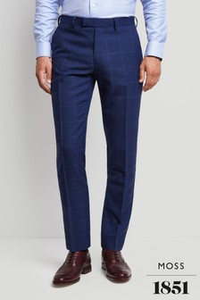 Moss 1851 Tailored Fit Bright Blue Check Trouser