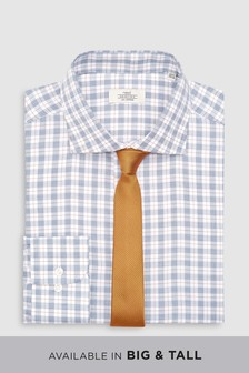 Check Slim Fit Shirt And Textured Tie Set