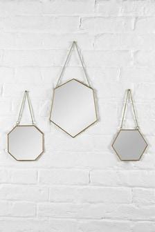 Set of 3 Gold Angular Mirrors