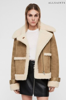 AllSaints Sand Luxury Leather Shearling Farley Jacket