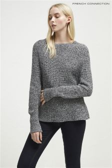 French Connection Black White Round Neck Jumper