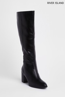 River Island Black Under The Knee Block Heeled Boot