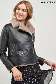 Whistles Black Faux Fur Lined Leather Jacket