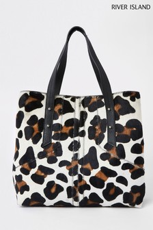 River Island Animal Leather Leopard Shopper