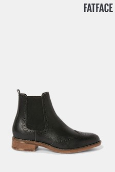 FatFace Black Bude Brogue Chelsea Boots