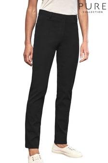 Pure Collection Black Cotton Blend Stretch Straight Leg Jean