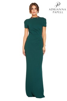 Adrianna Papell Green Long Crepe Dress