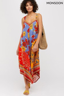 Monsoon Ladies Orange Jolene Jersey Scarf Print Maxi Dress