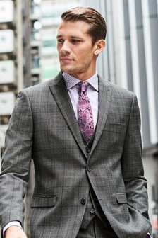 Tailored Fit Prince Of Wales Check Suit: Waistcoat