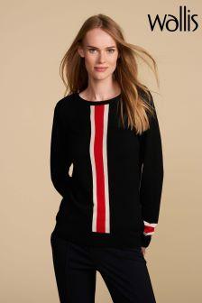 Wallis Petite Black Stripe Jumper