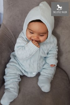 The Little Tailor Blue Baby Knitted Pramsuit