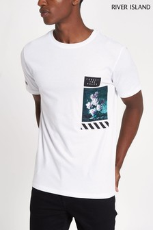 River Island White Floral Tee