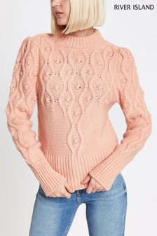 River Island Pink Cable Knit Jumper