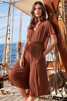 Textured Culotte Jumpsuit